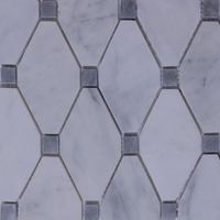 Honed Long Octagon Tile Mosaic Imperial Carrara With Grey Dot