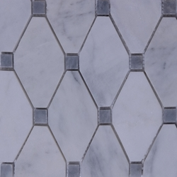 Long Octagon Tile Mosaic Imperial Carrara With Grey Dot