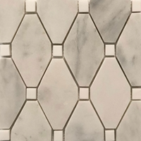 Honed Long Octagon Tile Mosaic Imperial Carrara With Dolomite Dot