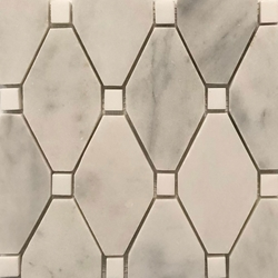 Long Octagon Tile Mosaic Imperial Carrara With Dolomite Dot