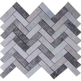 Herringbone Tile Mosaic Imperial Carrara Mixed Grey