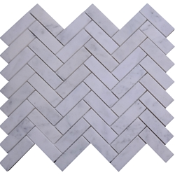 Honed Herringbone Tile Mosaic Imperial Carrara