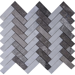 Herringbone Tile Mosaic Imperial Carrara Mixed Line Shades Of Grey