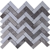 Herringbone Tile Mosaic Imperial Carrara Mixed Shades Of Grey