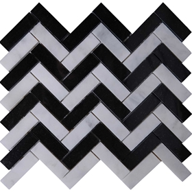 Herringbone Tile Mosaic Imperial Carrara Mixed Absolute Black