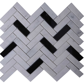 Herringbone Tile Mosaic Imperial Carrara Mixed Black