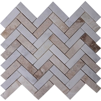 Herringbone Tile Mosaic Imperial Carrara Mixed Autumn Onyx