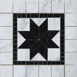 Medallion Mosaic Tile  Imperial Carrara with Black Marble Polished