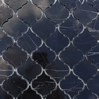 Lantern Arabesque Mosaic Tile Black Marble