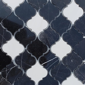 Lantern Arabesque Mosaic Tile Black and Dolomite Marble