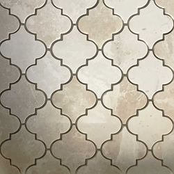 Lantern Arabesque Mosaic Tile Botticino Marble Polished