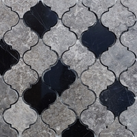 Lantern Arabesque Mosaic Tile Dark Grey Black Marble