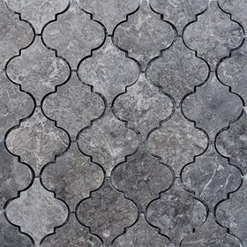 Lantern Arabesque Mosaic Tile Dark Grey Marble