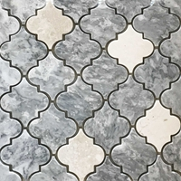 Lantern Arabesque Mosaic Tile Light Grey Botticino Marble