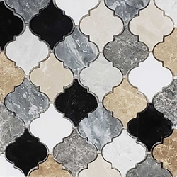 Lantern Arabesque Mosaic Tile Mixed Marble Stone