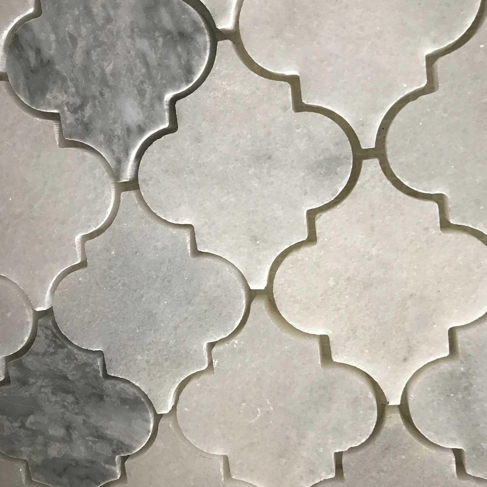 Lantern Arabesque Mosaic Tile White Light Grey
