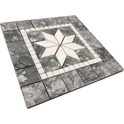Medallion Mosaic Tile Grey Dolomite Marble Polished