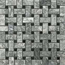Basketweave Mosaic Tile Light Grey Black Marble Polished