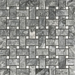 Basketweave Mosaic Tile Light Grey White Marble Polished