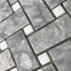 Basketweave Mosaic Tile Light Grey White Marble Polished - LGGPB12