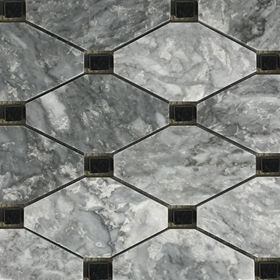 Boliche Mosaic Tile Light Grey Black Marble Polished Long Octagon Mosaic