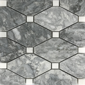 Boliche Mosaic Tile Light Grey White Marble Polished Long Octagon Mosaic
