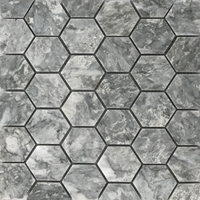 2 Inch Hexagon Mosaic Tile Light Grey Marble Polished