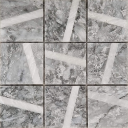 4 x 4 Custom Design Mosaic Tile Light Grey Whole Blanc Carrara Line