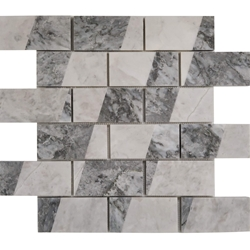 2 x4 Custom Design Mosaic Tile Moon White Carrara Light Grey Marble