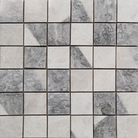 2 x 2 Custom Design Mosaic Tile Light Grey Whole Blanc Carrara