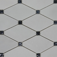 Long Octagon Mosaic Tile White Marble Black Glass Dot Long Octagon Mosaic