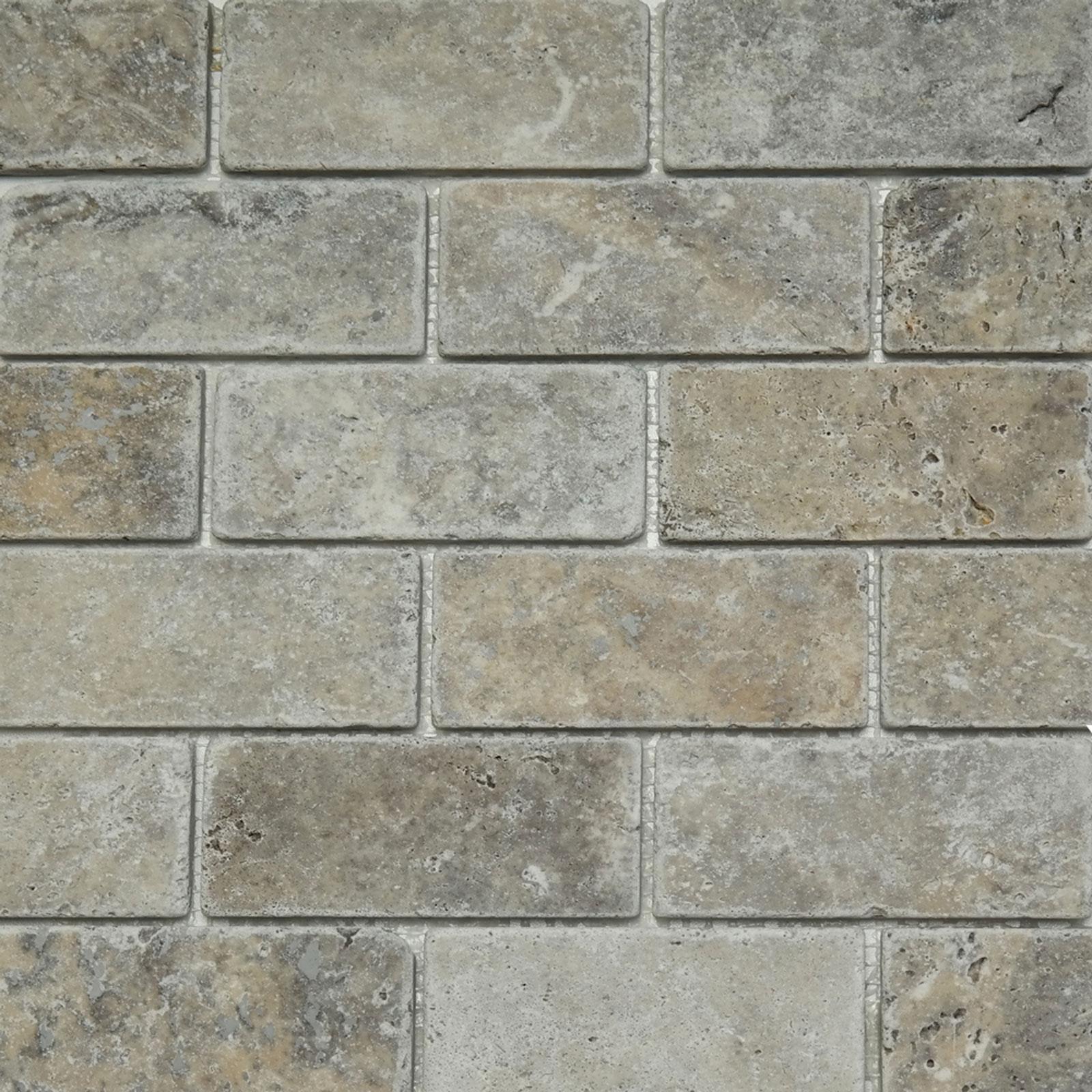 2 X 4 Mosaic Tile Silver Travertine Tumbled Honed