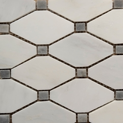 Boliche Mosaic Tile Asian Carrara Grey Marble Polished