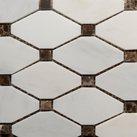 Diamond Mosaic Tile Asian Carrara Dark E Marble Polished