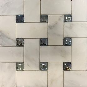 Basketweave Mosaic 2 inch Tile Asian Carrara Glass Marble