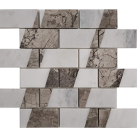 2 x4 Custom Design Mosaic Tile Asian Carrara Shades Of Grey