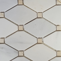 Diamond Mosaic Tile Asian Carrara Beige Marble Polished