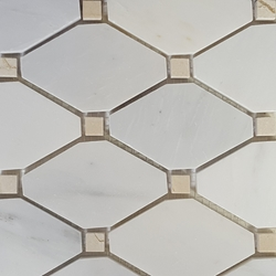 Boliche Mosaic Tile Asian Carrara Beige Marble Polished