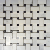 Basketweave Mosaic Tile Asian Carrara Black Marble Polished