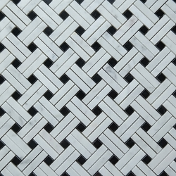 Cross Basket Tile Mosaic Imperial Carrara Black Dot