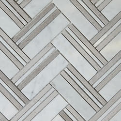 Herringbone Mosaic D Grey Tile Asian Carrara Marble Polished
