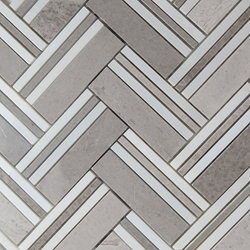 D Grey Herringbone Mosaic Tile Asian Carrara Marble Polished