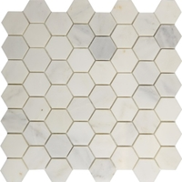 2 Inch Hexagon Mosaic Tile Asian Carrara Marble Polished