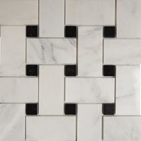 Basketweave Mosaic 2 inch Tile Asian Carrara Black Marble Polished