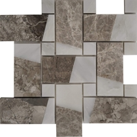 Large Basketweave Custom Design Mosaic Tile Asian Carrara Shades Of Grey