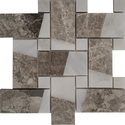 Large Basketweave Custom Mosaic Tile Asian Carrara Shades Of Grey