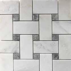 Basketweave Mosaic 2 inch Tile Asian Carrara Grey Marble Polished