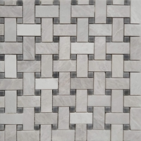 Basketweave Mosaic Tile Whole Blanc Carrara Marble Polished