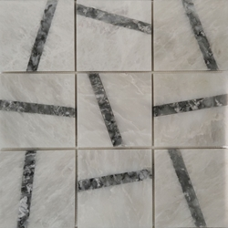 4 x 4 Custom Design Mosaic Tile Whole Blanc Carrara Light Grey Marble