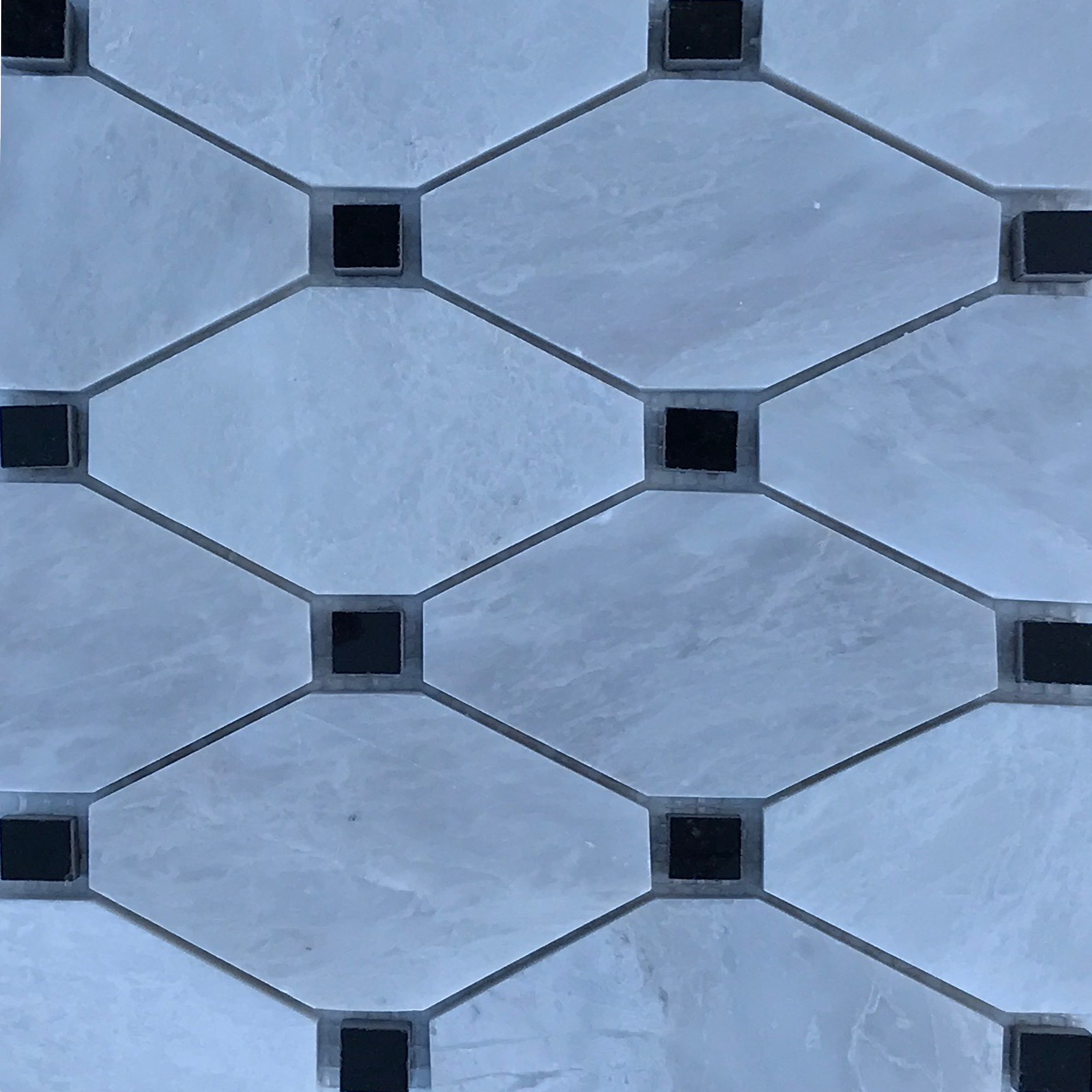 Boliche Mosaic Tile Whole Blanc Carrara Black Marble Polished